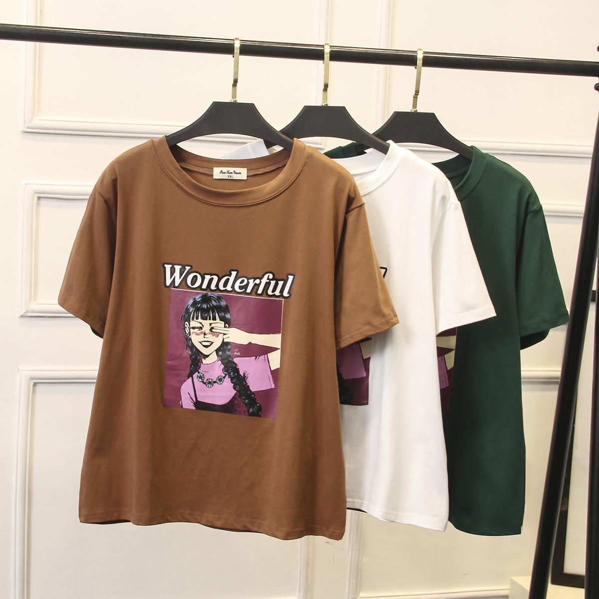 加肥加大码休闲女装夏装新款韩版显瘦XXXXL字母印花短袖T恤200斤