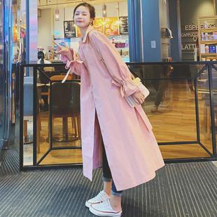 粉色风衣女设计感2020秋季新款中长款气质显瘦小个子流行大衣外套