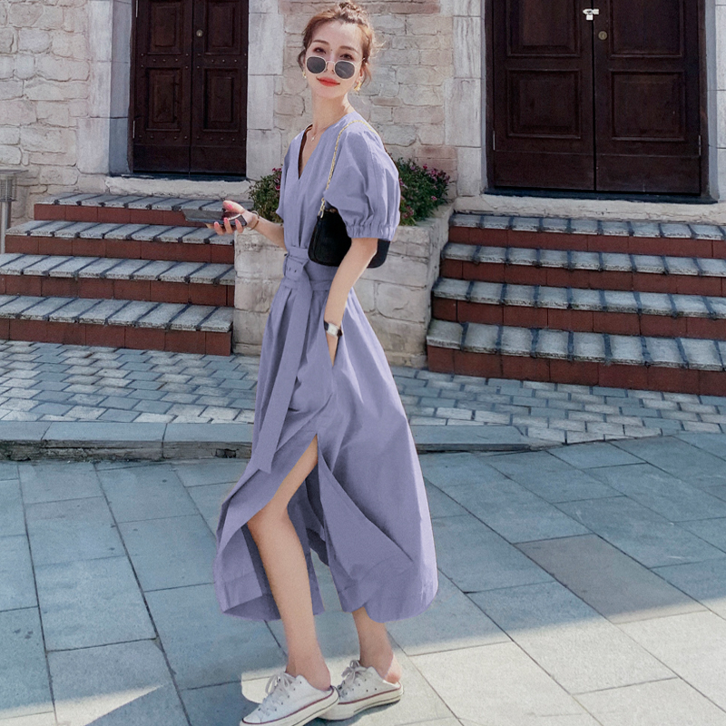 淡紫色法式复古泡泡袖连衣裙女2020夏季新款收腰显瘦棉麻桔梗长裙图片