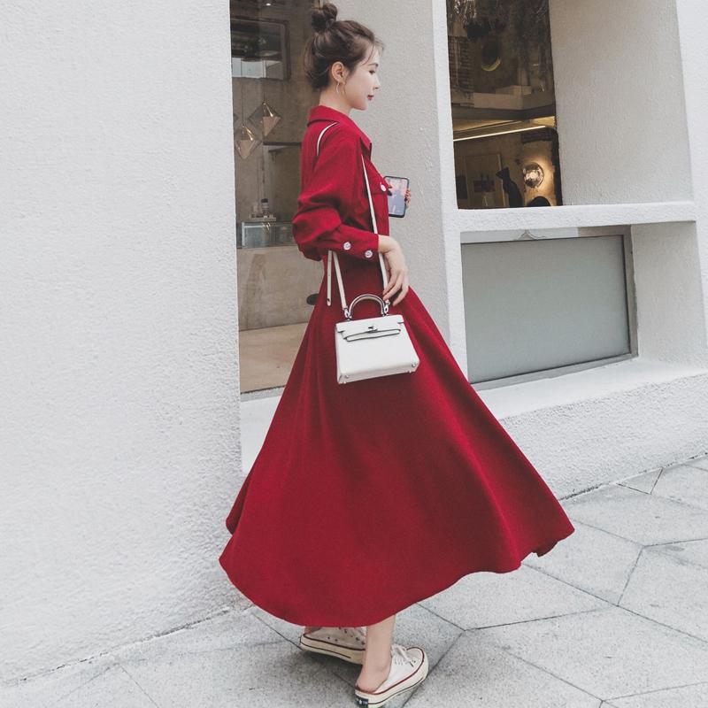 秋季2020新款红色法式复古长袖连衣裙女中长款收腰显瘦赫本风长裙图片