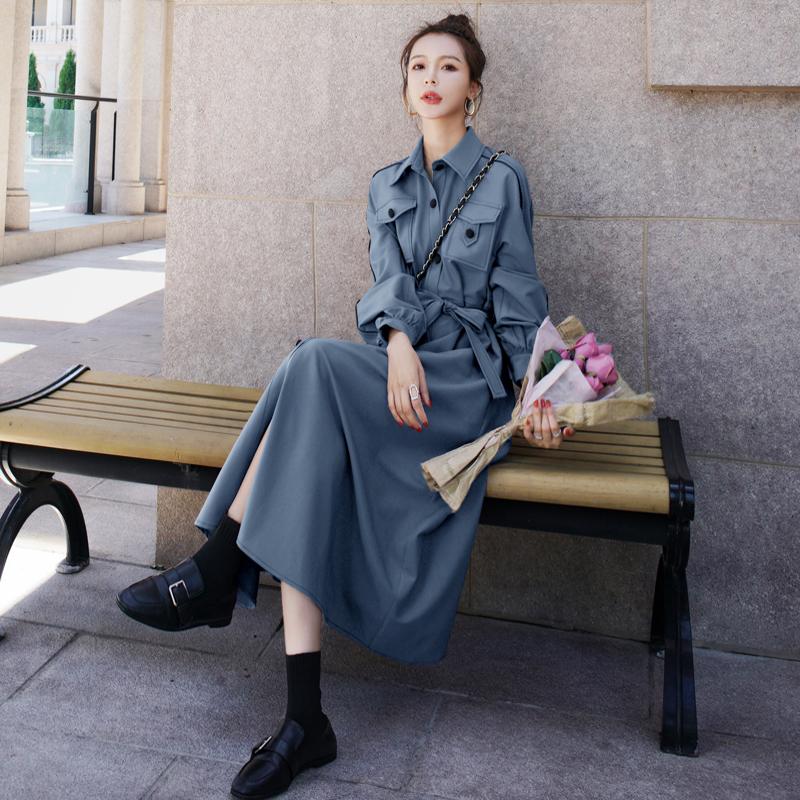 法式名媛气质女神范连衣裙女2020秋季新款长袖收腰衬衫裙赫本长裙图片