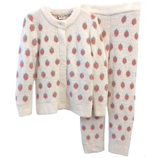 親子款女秋冬軟綿綿可愛草莓加厚冬季月子服寶寶兒童睡衣家居服