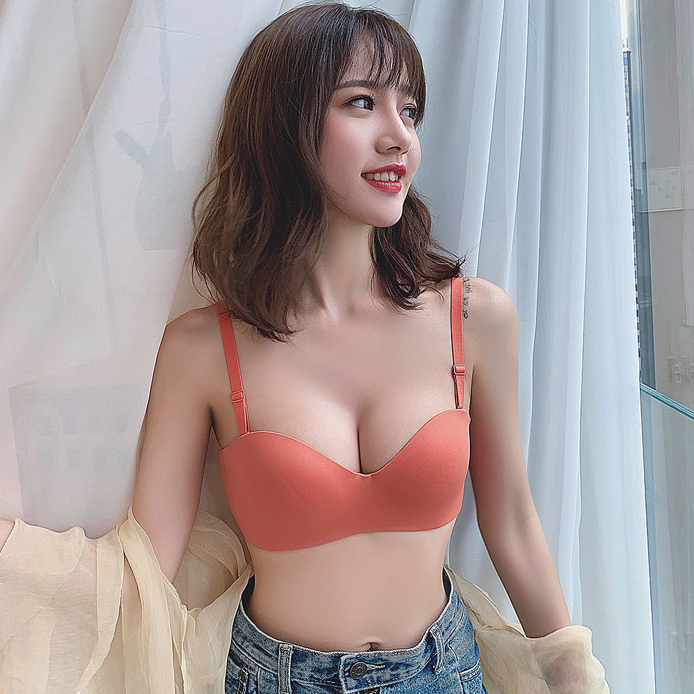 Sexy solid Strapless non slip bra type half cup thin underwear for women without steel ring, off shoulder and no trace gathered bra