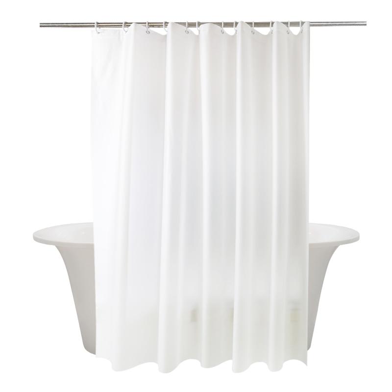 浴室防水纯白浴帘加厚卫生间帘挂帘酒店淋浴帘防霉免打孔杆套装