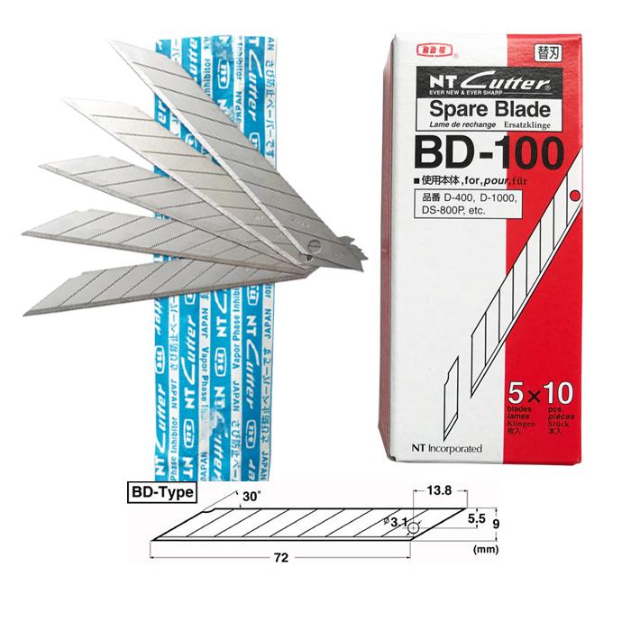 日本NT CUTTER BD-10美工ブレードをカッティングし、刃先カッターの30度角9ミリを切って郵送します。
