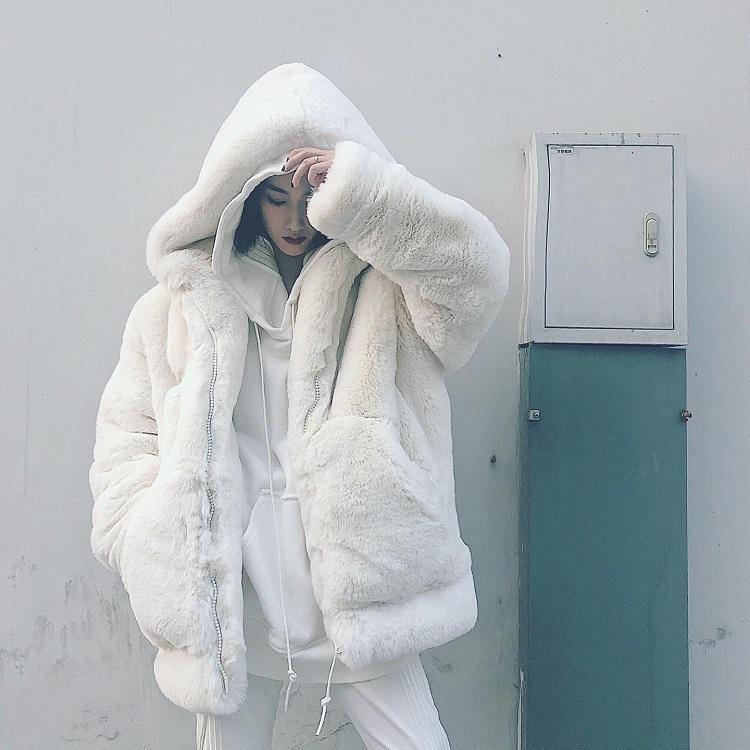 韩版宽松毛毛绒皮草外套女2019冬新款加厚连帽衫大衣仿獭兔中长款图片