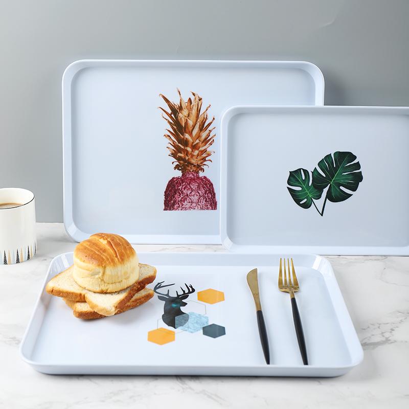 臻延坊 ins风北欧托盘茶盘长方形家用水果盘创意茶杯盘水壶蛋糕盘图片
