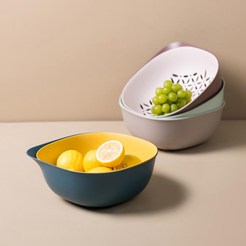 日式厨房双层洗菜盆沥水篮塑料菜篮子家用现代创意客厅果盘水果篮