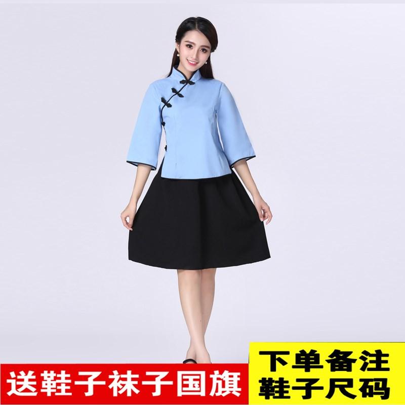 话剧民国学生演出服男女国民服装表演五四青年时期合唱服