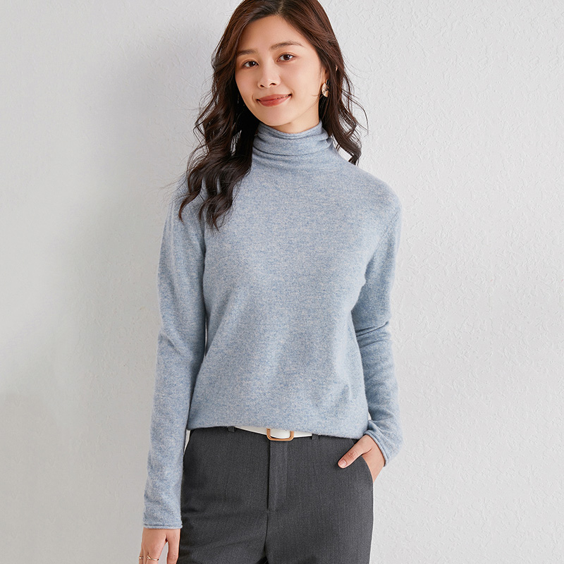 New pile neck hollow out woolen sweater womens simple thin bottomed sweater fashion versatile sweater womens autumn and winter
