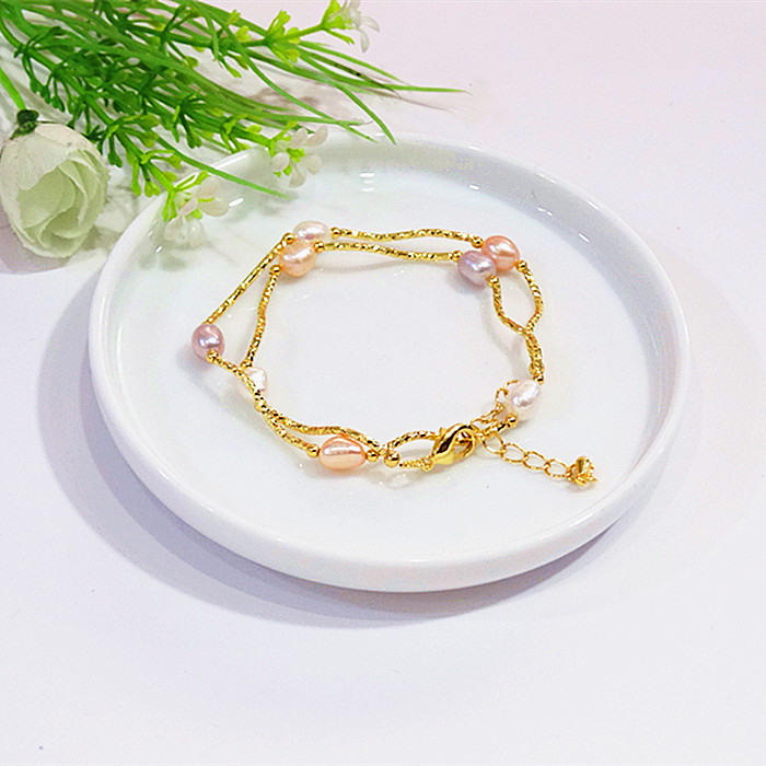 Natural pearl Jade Bracelet 18K wrapped gold accessories multi-layer Bracelet double-layer Bracelet Forest Department simple student jewelry