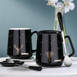 马克杯带盖勺陶瓷男女创意咖啡杯个性潮流清新简约情侣水杯子家用