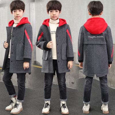 男童妮子外套中长款6中大童12-15岁英伦风秋冬款保暖加厚毛呢大衣