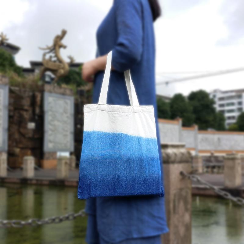 Shopping bag one shoulder gradient plant blue dye retro ethnic style hand painted batik mother carrying canvas bag