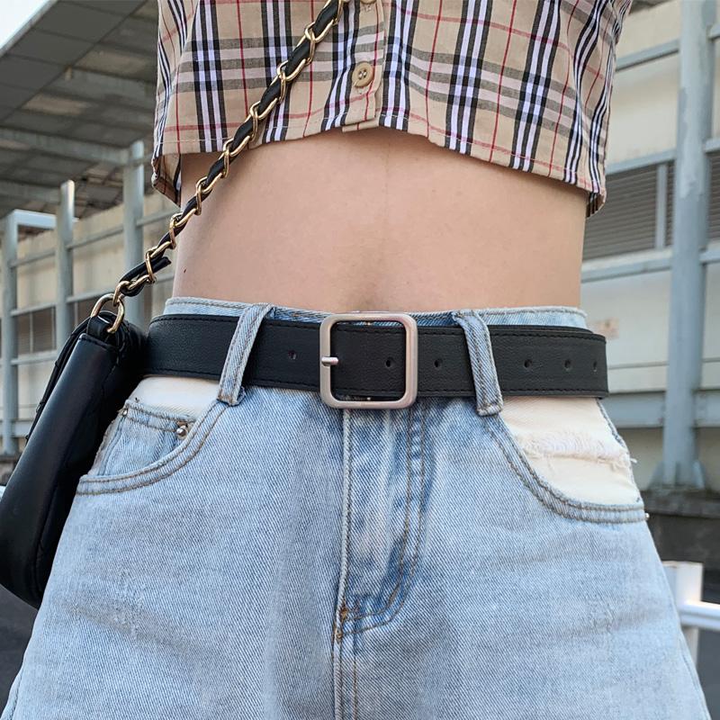 皮带女士ins风潮装饰夏季时尚百搭牛仔裤黑色配西装简约裤腰带男