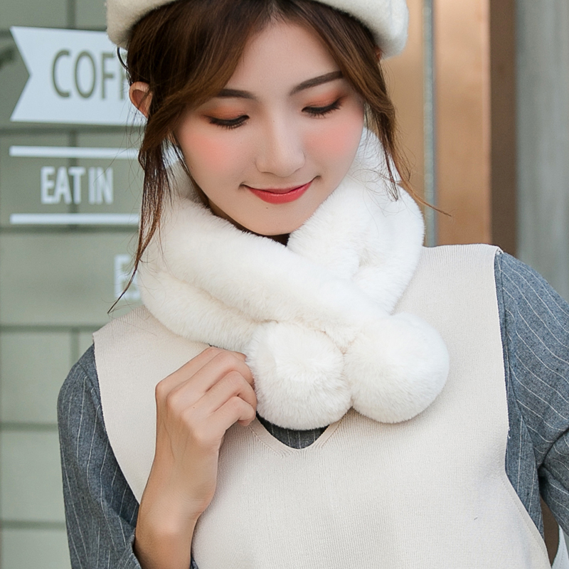 围巾女秋冬季韩版保暖毛毛绒仿獭兔毛交叉围脖套学生百搭可爱少女
