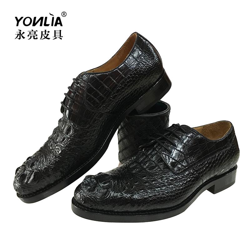 暹罗鳄鱼皮商务鞋内增高鳄鱼皮大头骨男士皮鞋固特异正装男鞋真皮
