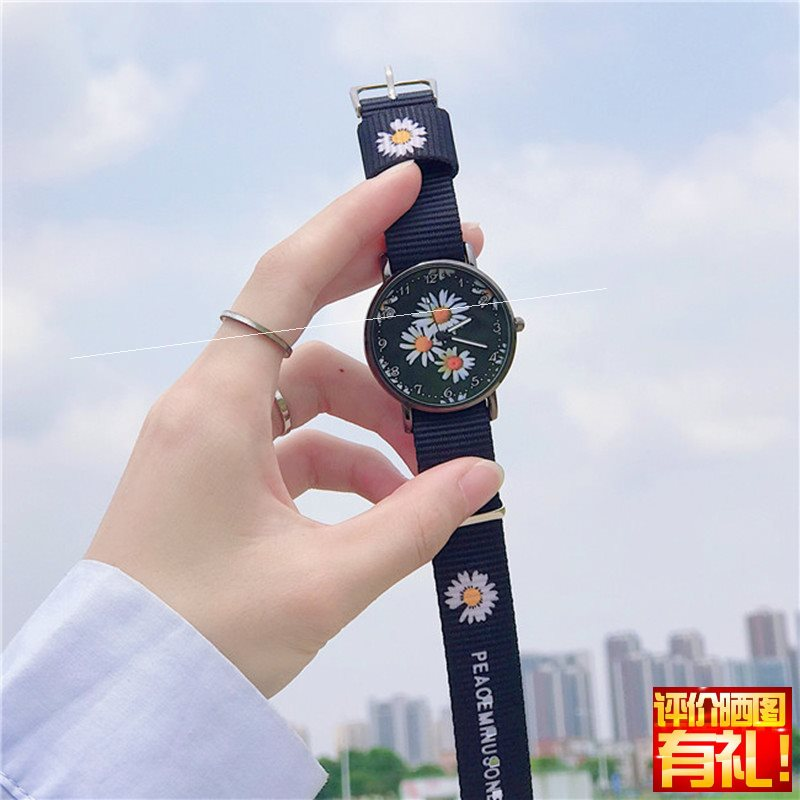 {watch woman black simple temperament student personality Black Canvas Little Daisy ins wind power Zhilong same style college style