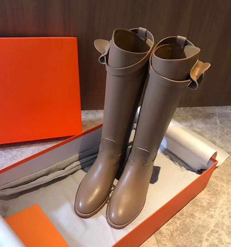 H family leather boots autumn and winter 2020 new cowhide high tube boots flat bottom straight tube knee Kelly womens boots Knight boots