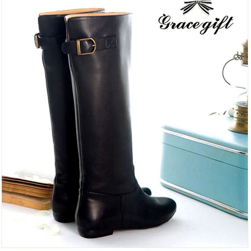 Autumn and winter 2020 new high boots women leather straight Knights boots Flat Boots 0912-1 European and American long Martin boots