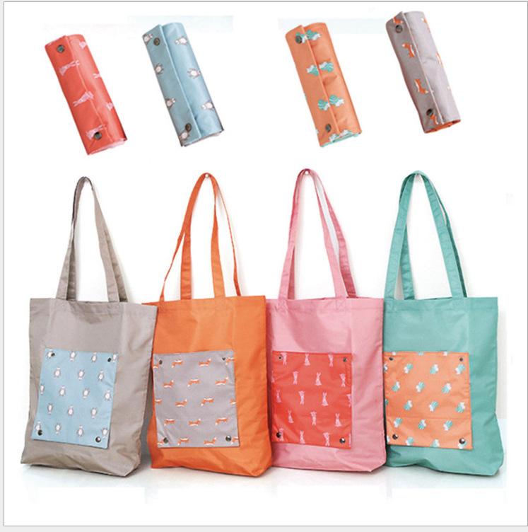 韩版卡通手提袋旅行收纳包 女士可折叠单肩购物袋收纳袋