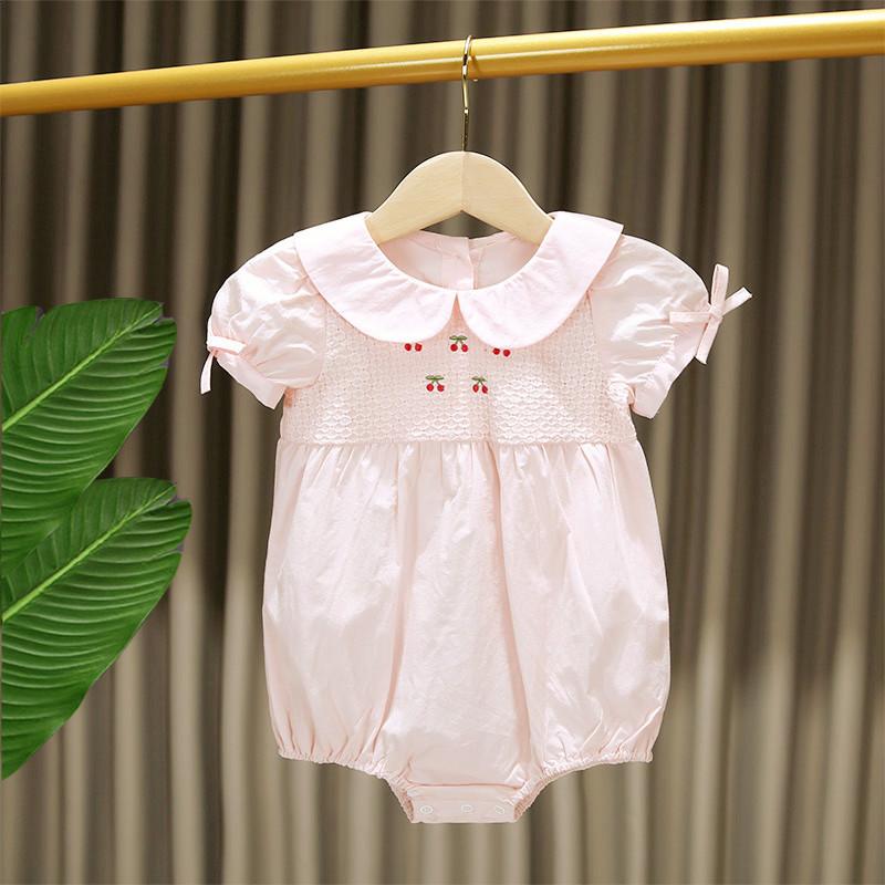 高档儿短袖三角哈衣衣爬服装夏薄款纯G棉婴儿连体爬女宝宝包屁奢
