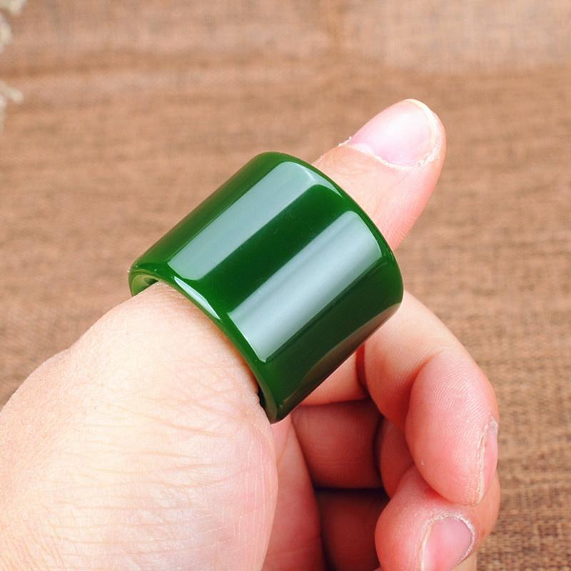 青松玉器新疆碧玉扳指戒指原矿和田玉碧玉满绿扳指指环