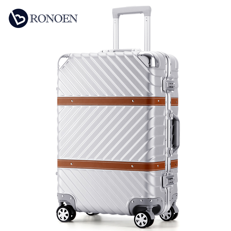 Retro Korean luggage right angle aluminum frame trolley case universal wheel suitcase 26 inch 20 female and male password box 24