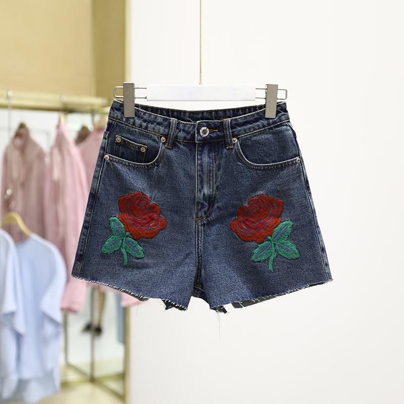 【T系列】高腰显瘦刺绣花朵牛仔短裤品牌女装折扣店专柜正品
