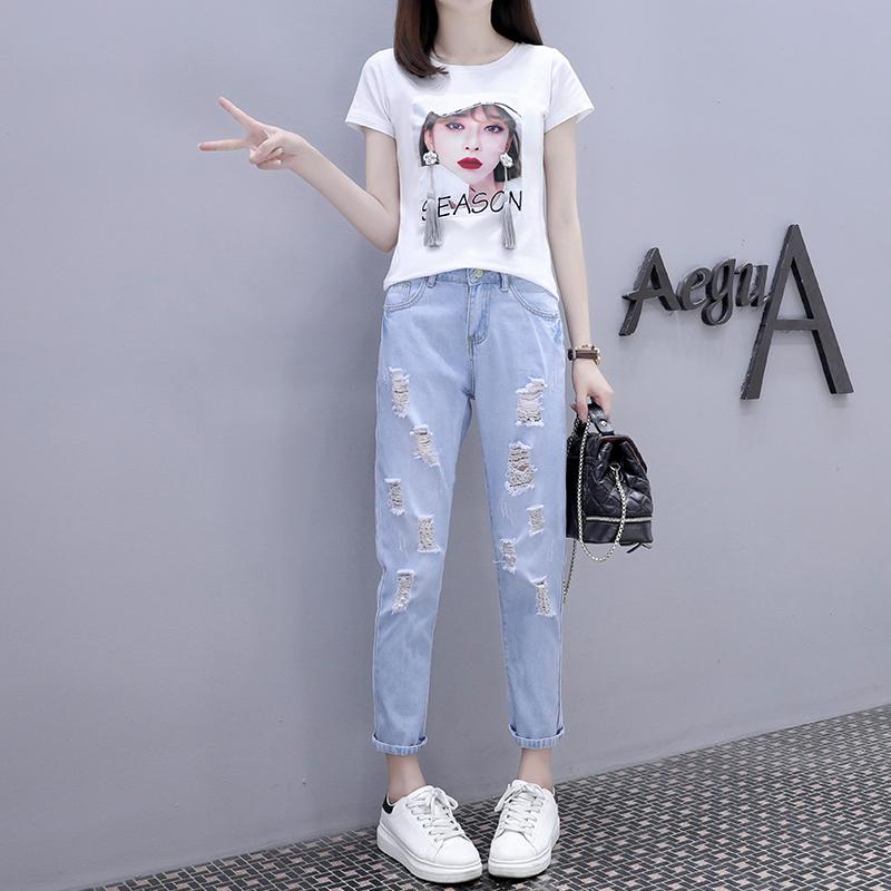 歐洲站夏裝女2020新款純棉短袖T恤+破洞牛仔褲套裝時尚洋氣兩件套