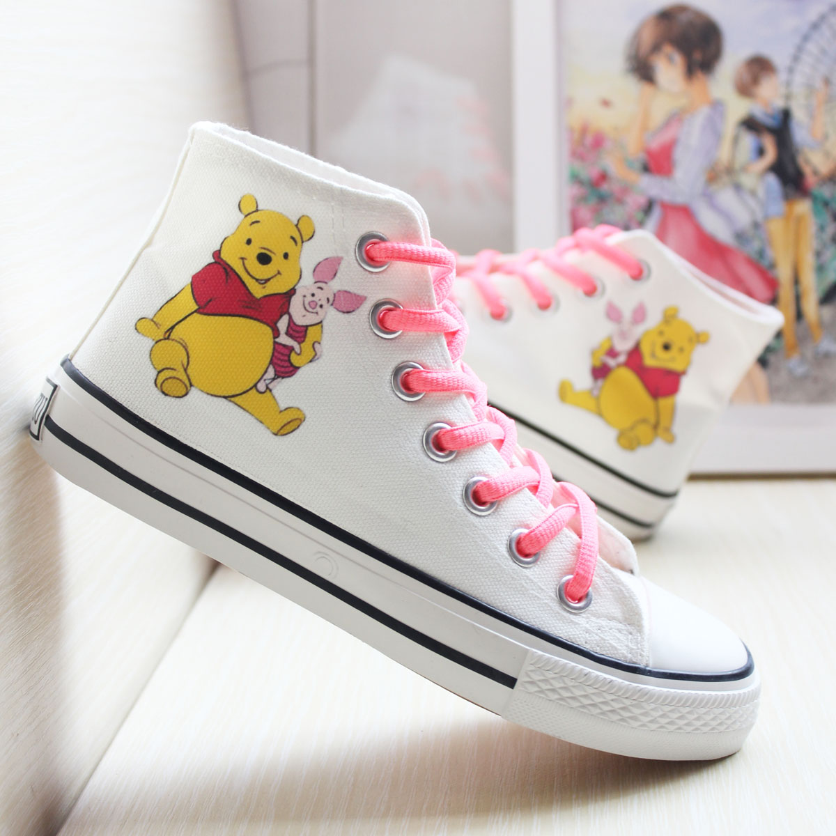Winnie the Pooh pop sports casual shoes high top womens shoes mens shoes couples shoes canvas shoes single shoes board shoes hand painted shoes