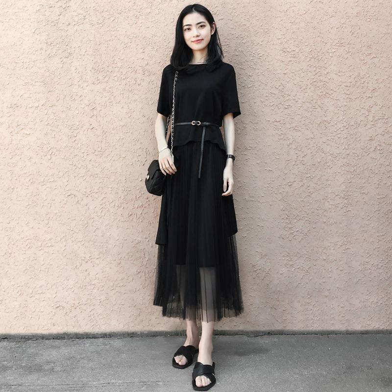 204气质长裙女夏装2019新款小黑裙飘逸网纱两件套显瘦黑色连衣裙