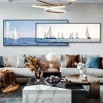 北歐輕奢客廳裝飾畫沙發背景墻掛畫大氣抽象疊加壁畫臥室床頭墻畫
