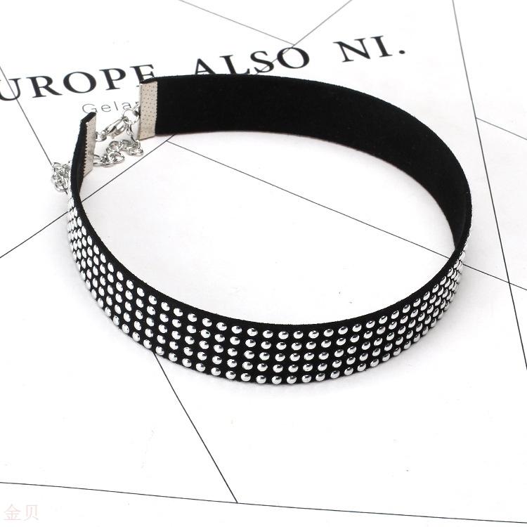 European and American new jewelry Korean velvet short necklace female Steampunk rivet Gothic Choker neck chain