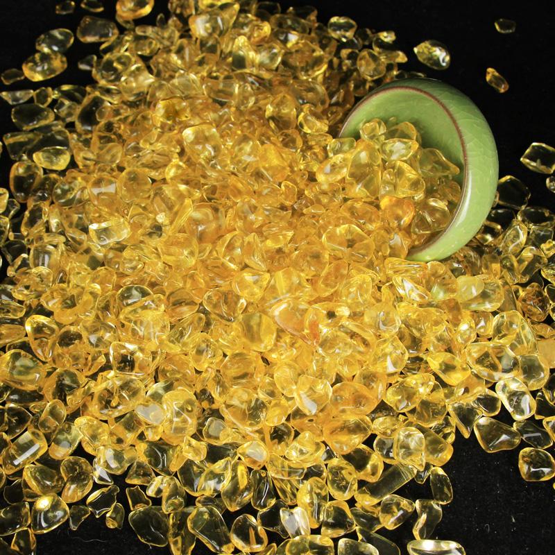 花盆聚宝盆鱼缸大小散装水晶碎石颗粒黄水晶石装饰品装