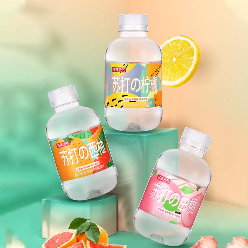 亲亲元气苏打水无糖饮料矿泉水无气泡薄荷柠檬饮用水备用整箱24瓶