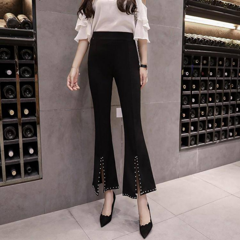 Spring and autumn 2020 new Korean high waist lace flared pants Elastic Waist Wide Leg Pants womens Capris Pants Black