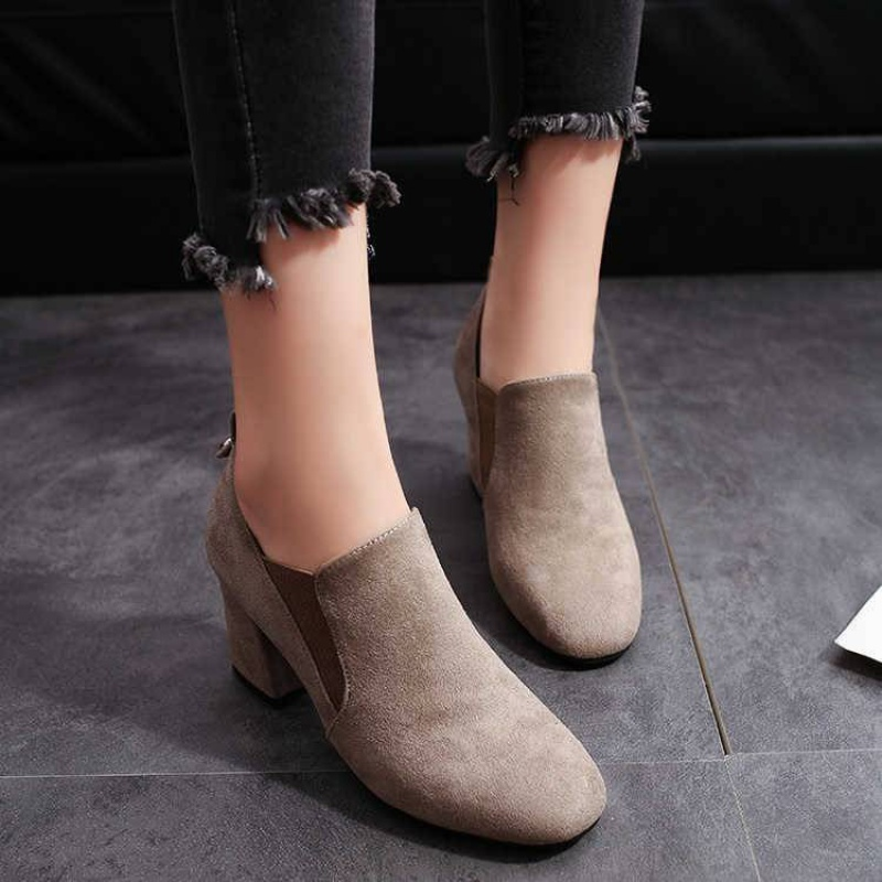 Autumn 2017 womens spring and Autumn New Korean version square head thick heel medium heel high heel womens shoes frosted retro shoes