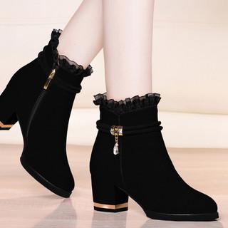 黑色高跟鞋女2020年粗跟女鞋子秋季新款蕾丝百搭妈妈秋鞋中跟单鞋