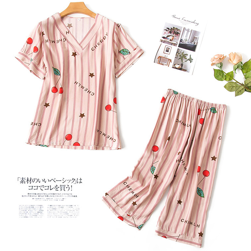Spring and autumn pajamas womens cotton silk short sleeve two piece suit autumn thin lovely cotton silk Capris womens home wear