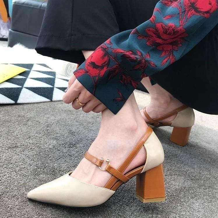 夏高跟鞋女粗跟凉鞋英伦风尖头鞋扣女鞋中空凉鞋【