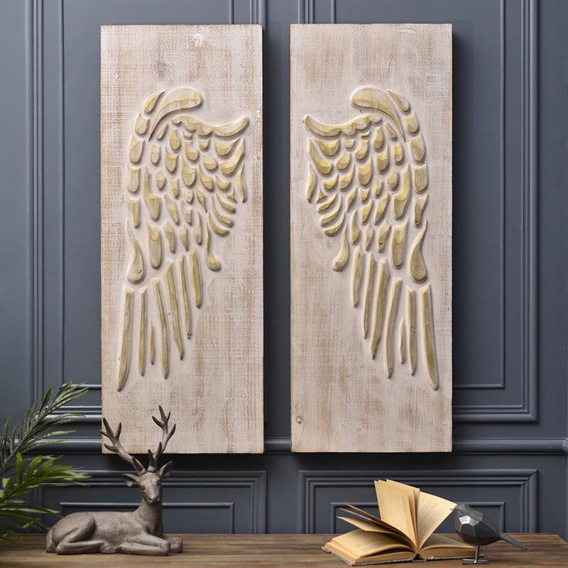 家居软装壁饰咖啡厅酒吧餐厅壁饰壁挂欧式创意浮雕翅膀木版画