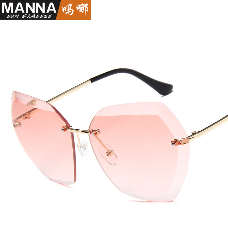 2017 new large frame cut edge Sunglasses Womens trend frameless ocean piece Sunglasses Street Photo glasses