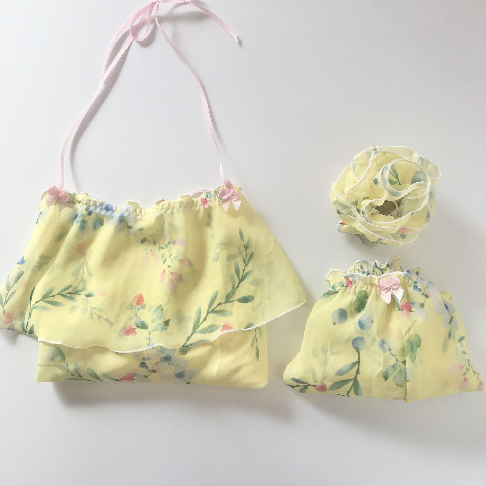性感小姐姐黄色雪纺碎花古风汉服女肚兜露背吊带短裤睡衣套装手作