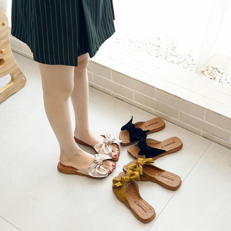夏季新款牛筋底拖鞋女外穿蝴蝶结学生平底一字拖百搭小米爱女鞋子