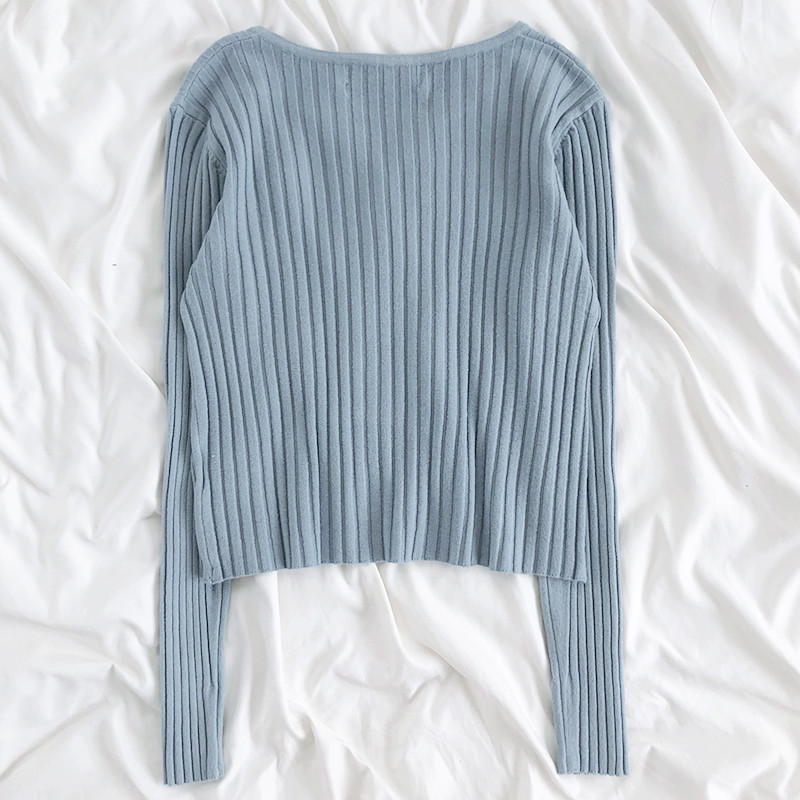 The best selling Rena is very simple to wear and match ~ solid color pit stripe round neck slim, simple and versatile, long sleeve knitted wool