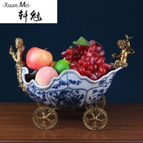 Xuan Charming Jubilee Creative fruit plate European luxury ceramic basket decorations American idyllic living room home coffee table