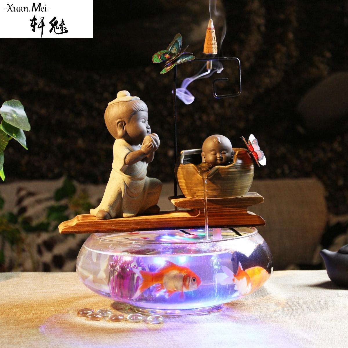 轩魅小鱼缸 迷你缸 办公桌面客厅小型 创意玻璃鱼缸 圆形金鱼缸,可领取100元天猫优惠券