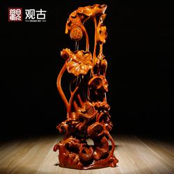 花梨木雕刻年年有鱼根雕荷花动物摆件红木家居装饰工艺品乔迁送礼