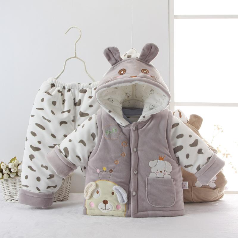 秋冬季宝宝棉衣套装0-2岁婴儿童装服饰棉衣服加厚三件套